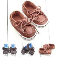 Kids Toddler Baby Girl Boy Prewalker Soft Sole PU Leather Shoes Crib Shoes 0-12M