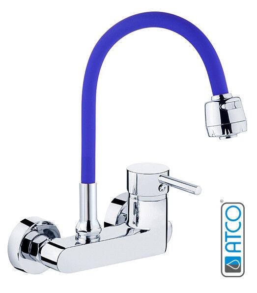 ATCO® Wandarmatur Armatur Küche Spültischarmatur Küchenarmatur Brause indigoblau