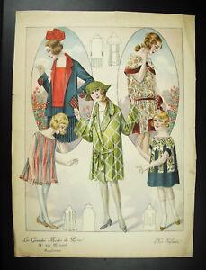CoopéRative Elégante Au Chapeau Mode Ancienne Fashion 1930 Affiche Poster; 34cm Renforcement De La Taille Et Des Nerfs