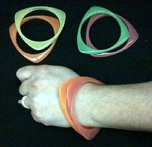 3 Sided Shape Bangle Bracelet Set Of 2 Different Color