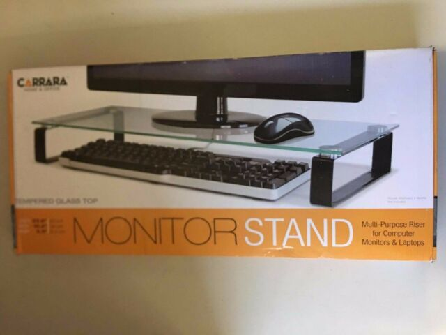 New Carrara Home Office Monitor Stand W Tempered Gl Top