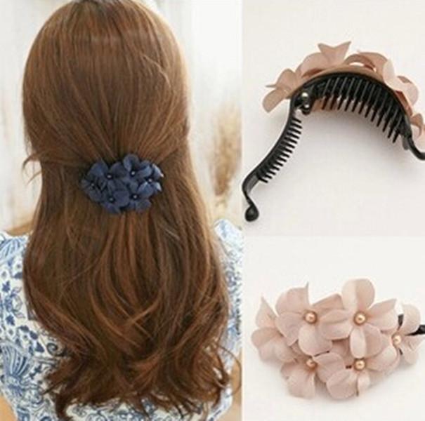 HO AU Great Handmade women girl flower Banana barrette hair clip hair pin claw