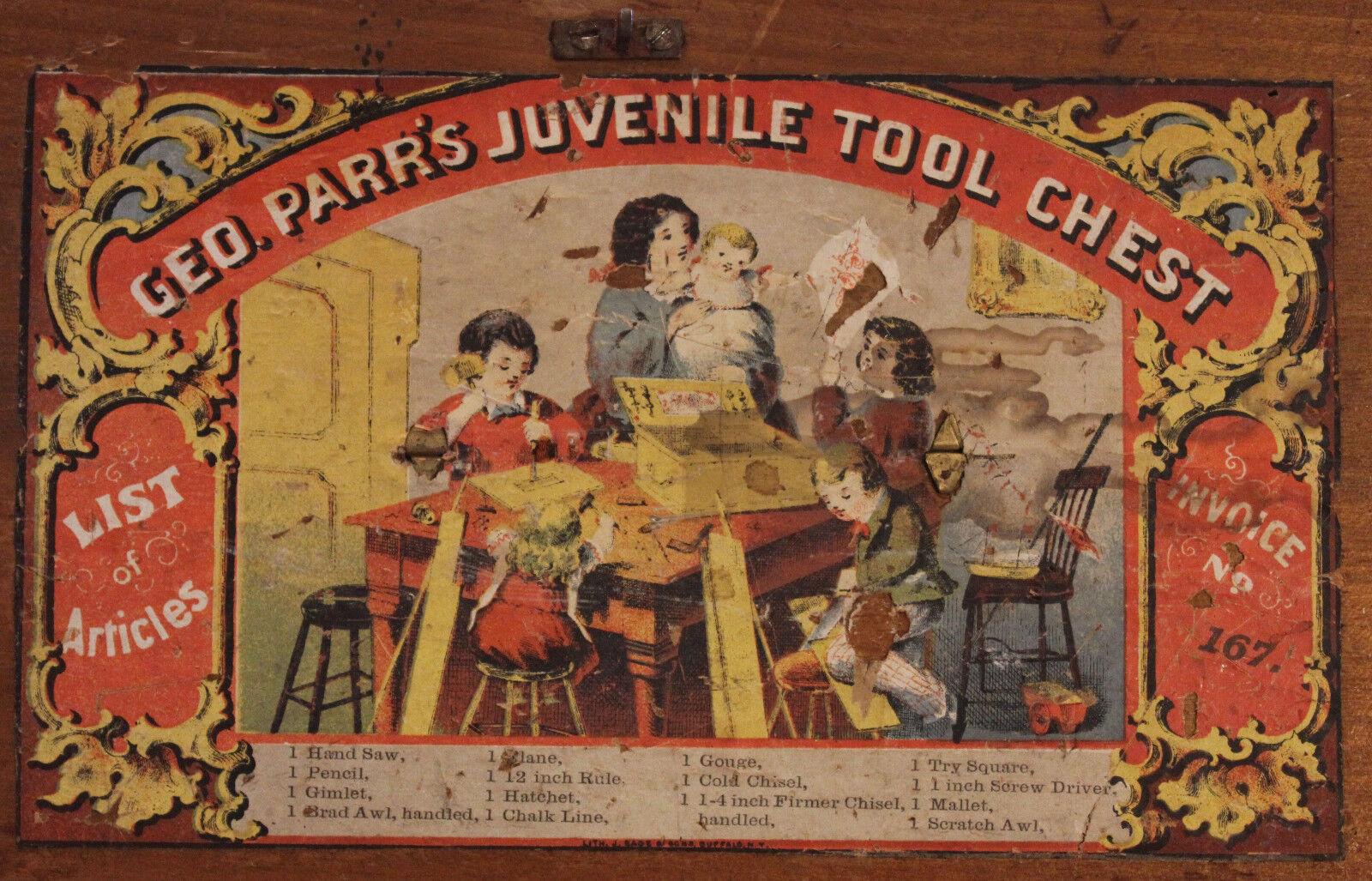 Original 1860s Geo. la herramienta juvenil Pecho Caja Parr sólo