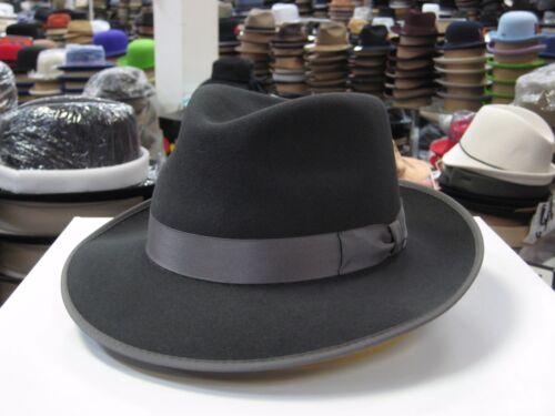 STETSON C CROWN CHARCOAL GREY SOFT FUR FELT FEDORA DRESS HAT *READ DESCRPTN*
