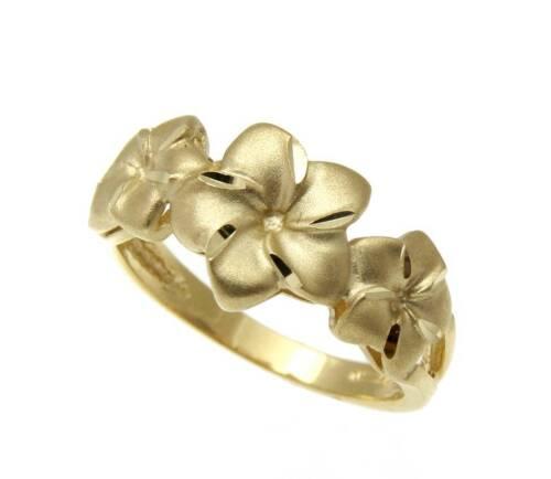 SOLID 14K YELLOW GOLD HAWAIIAN 7MM-9MM-7MM PLUMERIA FLOWER RING