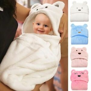 Newborn-Infant-Baby-Soft-Flannel-Hooded-Blanket-Bath-Towel-Kids-Animal-Bathrobe