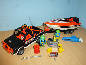 3399-Jeep-Pick-up-with-Trailer-Speedboot-Boat-City-Leisure-Playmobil-358