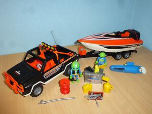 3399-Jeep-Pick-Up-avec-Remorque-Speedboot-Bateau-City-Loisirs-Playmobil-358