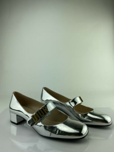 Christian Dior Silver Patent Mary Janes