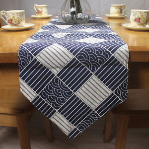 Cotton-Linen-Classic-Japanese-Pattern-Table-Runner-Plaid-Fish-Scale-Sea-Wave