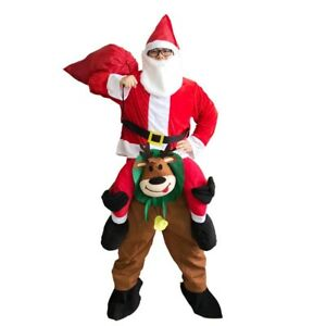 Santa Clause Ride On Reindeer Fancy Dress Xmas Mascot Costume Christmas Adult