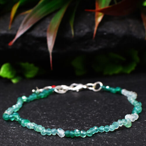 """Faceted 15.00 Cts Natural 7/"""" Long Green Fluorite Round Beads Bracelet NK 15E186"""
