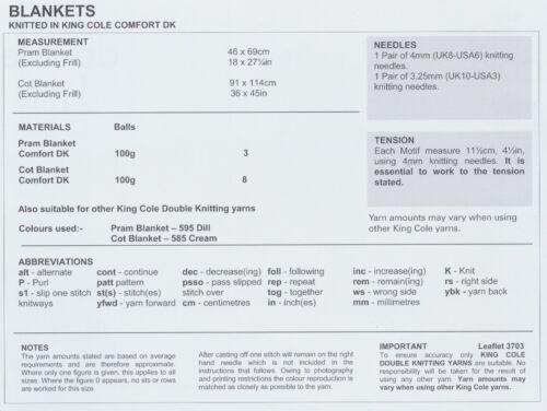 Los Bebés Doble Patrón Oscuro Tejer King Cole Bebé Cochecito /& Cuna Manta 3703