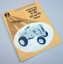 International Cub Cadet 71 102 122 123 Tractor Operators Owners Manual Ih