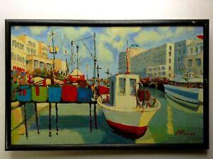 Beau Tableau Marine Bateaux Port Huile sur toile signé Roger FRANCES