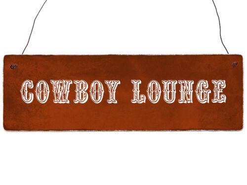 INTERLUXE Holzschild COWBOY LOUNGE Retro Vintage Dekoschild Geschenk Shabby