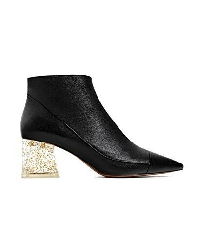 NWT ZARA LEATHER ANKLE BOOT WITH METHACRYLATE HEEL US 9 REF. 5111 101 BLACK