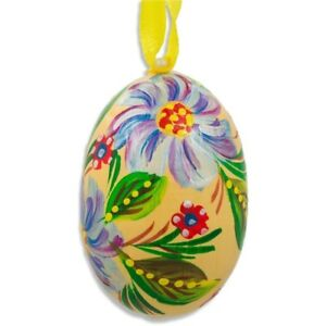 Blue and Purple Flower Wooden Egg Easter Ornament 3 Inches