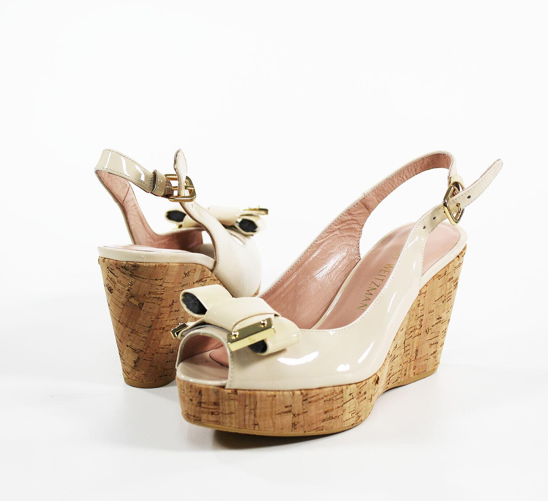 STUART WEITZMAN Bodajean Leather Peeptoe Wedge Sandals