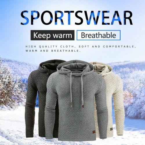 Men Plaid Jacquard Pullover Hooded Long Sleeve Casual Hoodies Sweatshirt OK