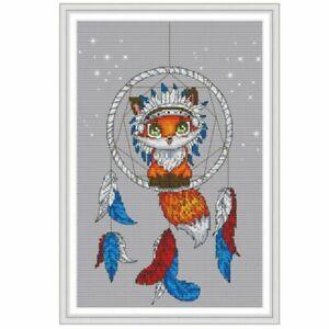 Fox-Dream-Catcher-DIY-Handmade-Needlework-Cross-Stitch-Embroidery-Kit-Set-14CT