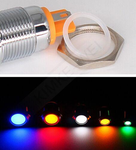 LED Metal Waterproof Pilot Panel Indicator Signal Warning Light Lamp AC//DC New