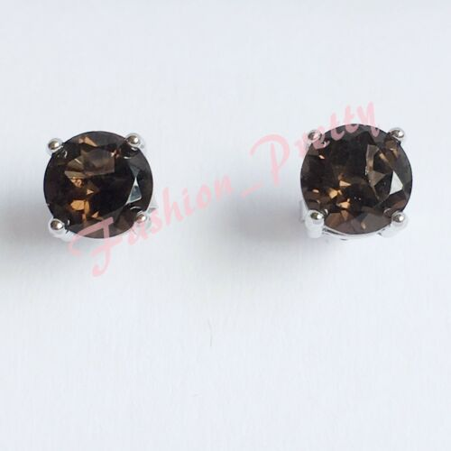 Round-Gemstone-Stud Earrings-In-925-Sterling-Sliver-FS Pretty 2ct-Smoky Quartz