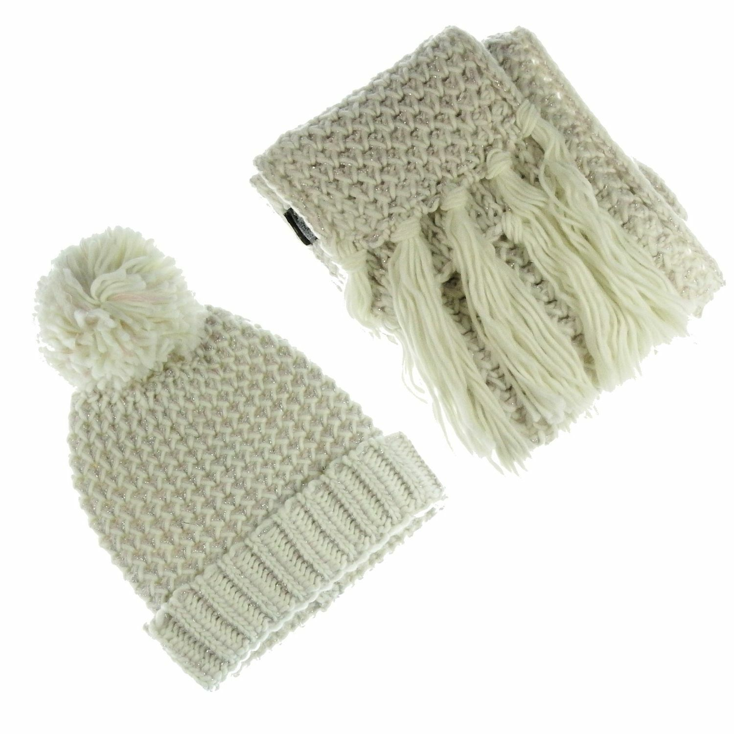 Euphyllia Libby Knitted Ladies Hat & Scarf Set with Lurex Oatmeal/Pink (b946)