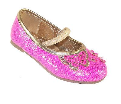 Chicas Infantil Niño Nuevo Rosa Brillante Partido Bailarinas Zapatos Dama Vestir