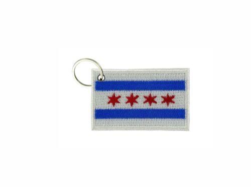 Schlüsselanhänger fahne flagge flaggen bestickt anhänger  chicago usa r3