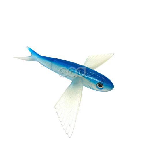 "8/"" Unrigged Flying Fish Mahi Tuna Wahoo Soft Lures Blue Silver Yummy Flyer @US"