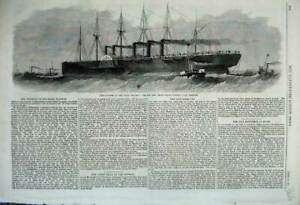 Old-Antique-Print-1861-Disaster-Great-Eastern-Big-Ship-Towed-Cork-Harbour-19th