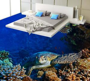 3D 7 Coral tortugas marinas Piso impresión de parojo de papel pintado mural 5D AJ Wallpaper Reino Unido Limón