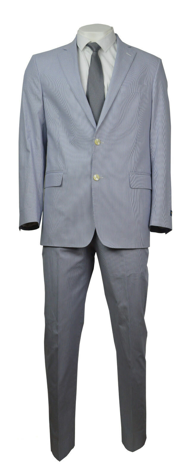 Brooks Bredhers Mens bluee White Striped Regent Fit Two Piece Suit 43R 37W 0763-1