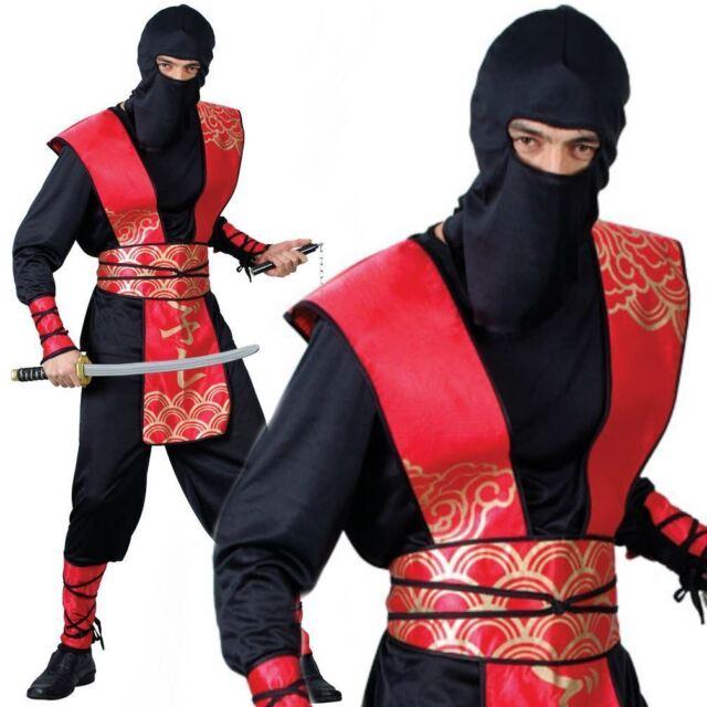 Mens Japanese Cartoon Samurai Halloween Fancy Dress Costume Outfit M-XL