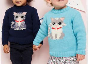 Knitting Pattern - Child's Cute Kitty Cat Jumper Sweater ...