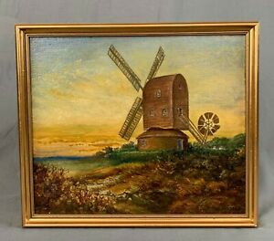 Norfolk-Windmill-Oil-Painting-by-W-Plumstead-c1935