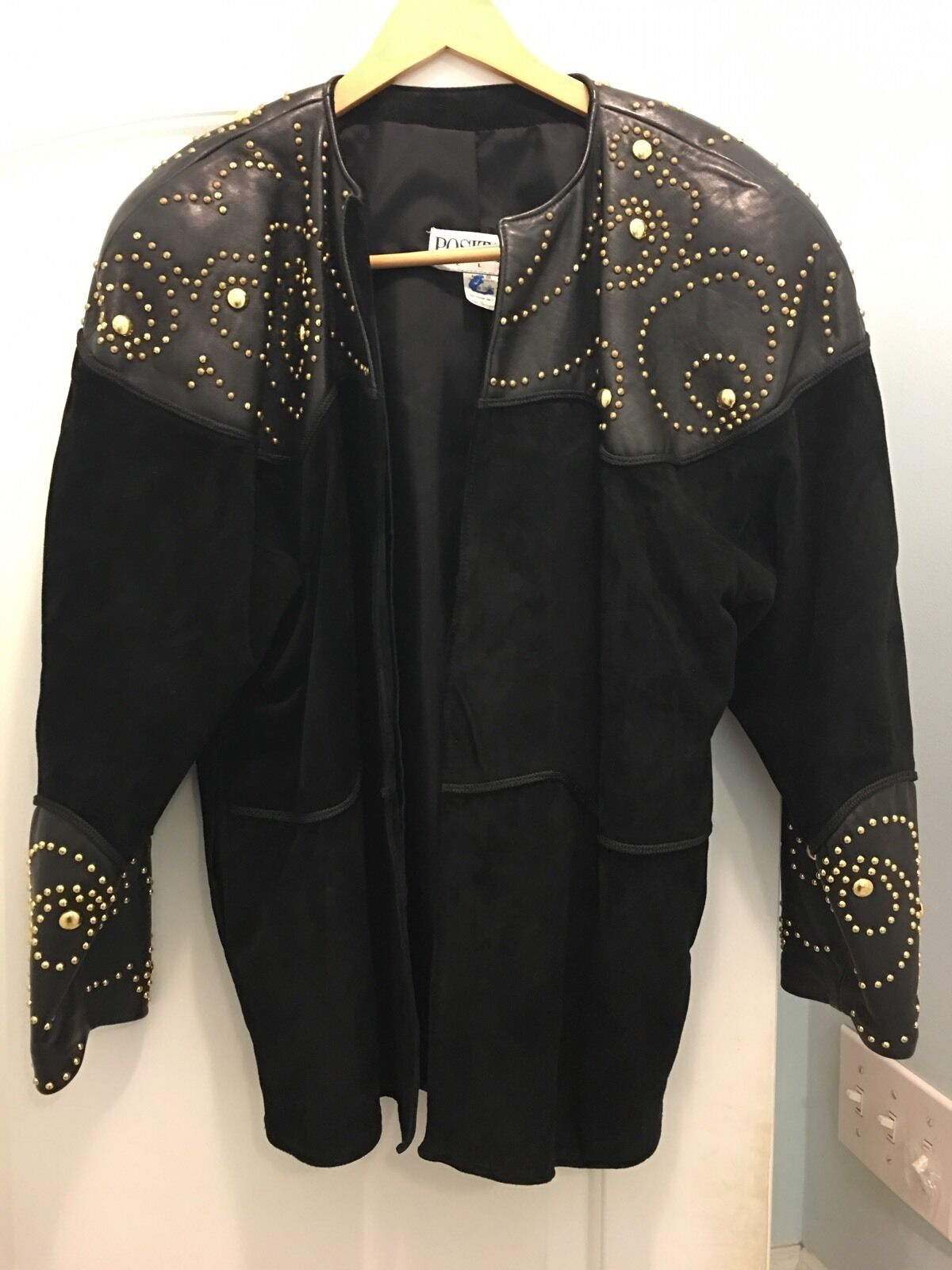 Positano Pelle Women's Studded Draped Leather Coat No Size Tag Suede Padded Shld