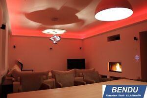 Details zu LED Stuckleisten indirekte Beleuchtung Decke Lichtvoutenprofil  Hartschaum BENDU