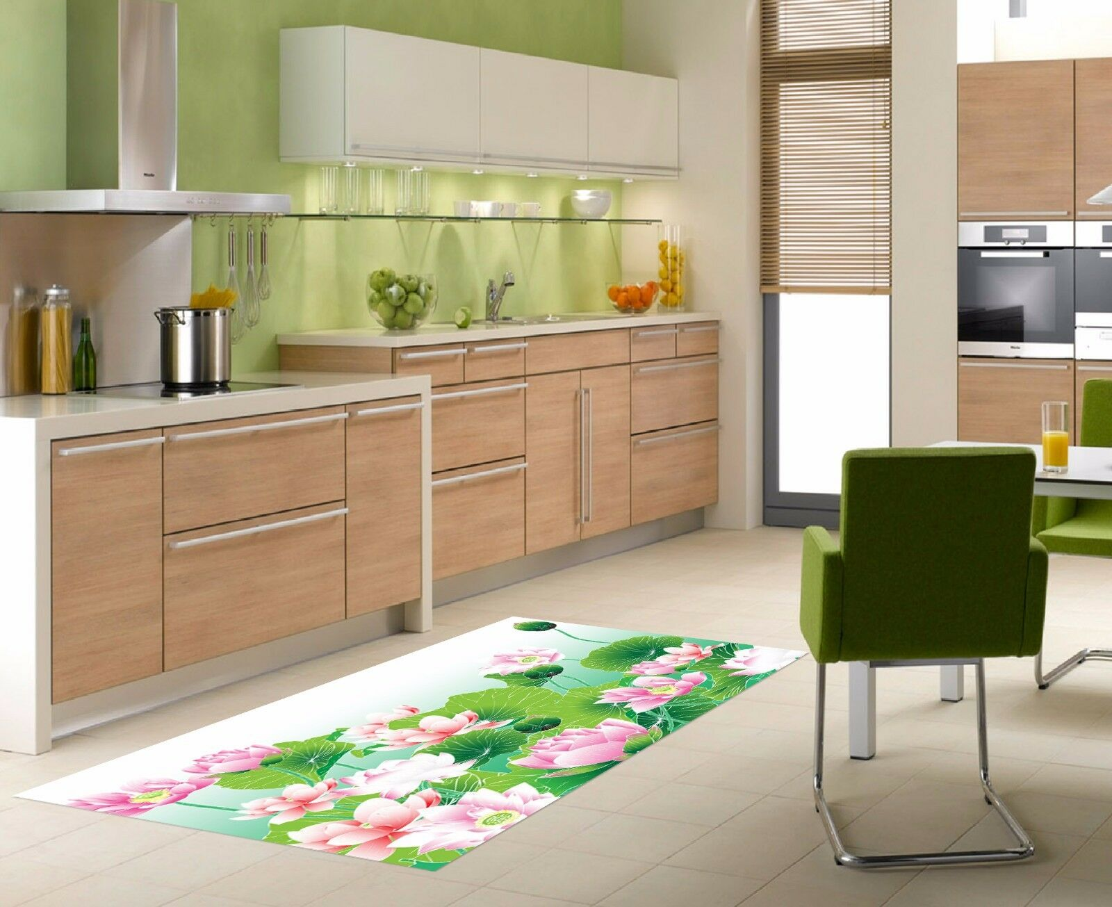3D Lotus Flower 7 Kitchen Mat Floor Murals Wall Print Wall AJ WALLPAPER AU Carly