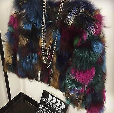 Fur Jacket Real Rainbow Colorful Warm Short Womens Coat Color Parka SwqTzwHxB