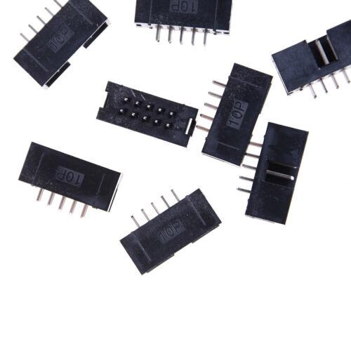 10PCS DC3-10P 2.54mm 2x5 Pin Straight Male Shrouded header IDC Socket YJ