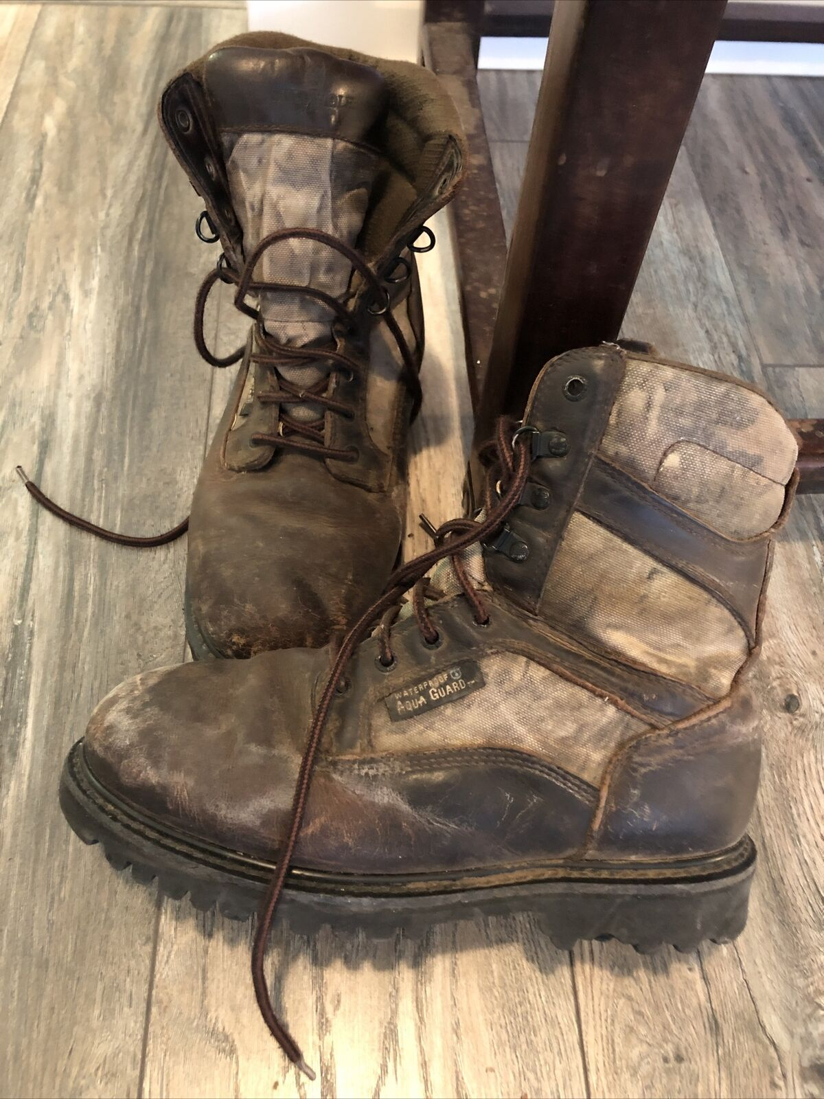 Rocky Wild Wolf Camo Aqua Guard Boots Men 9 W Insulated 800 Grams
