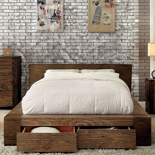 Transitional Style Bedroom Furniture: Transitional Style Rustic Natural Tone Finish 1pc Eastern