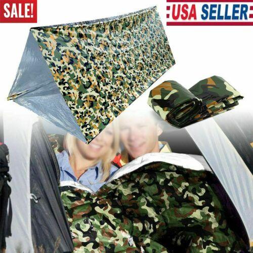 New Camo Emergency Sleeping Bag Thermal Waterproof Survival Camping Travel Bag