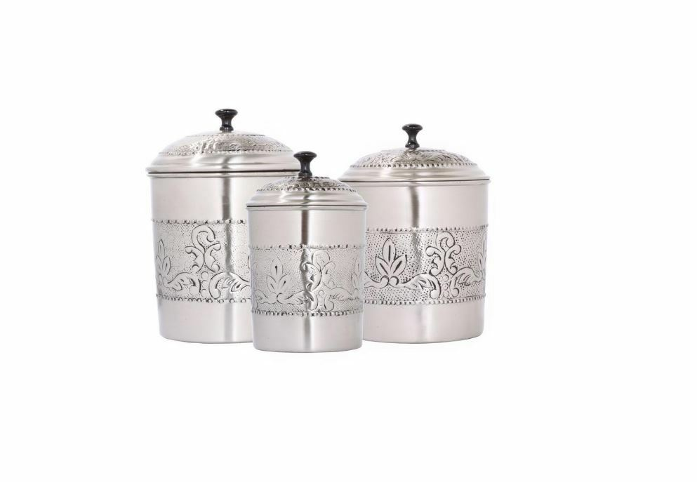 Old Dutch Antique relief Victoria cuisine acier Fresh Storage Canister Set