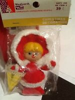 Vintage Woolworths Girl Red Oufitt Wht Fur Gold Parasol Christmas Ornament