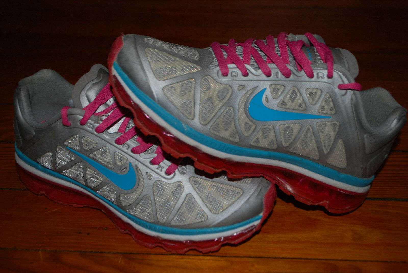 Women's Nike Women's Air Max+ Silver / Turquoise / Pink Running Sneaker (7)