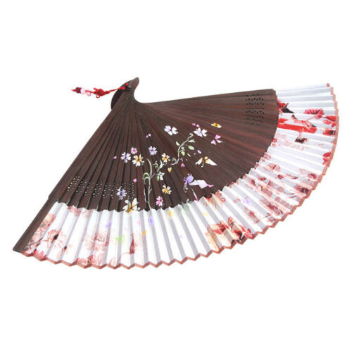 Korean Traditional Handicraft Printing Silk Hand Fan Norigae Folding Gift BROWN
