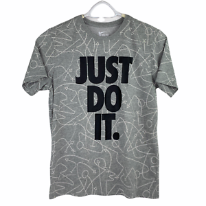 The Nike Tee Just Do It Gray Athletic Cut Dri-Fit Graphic Short Sleeve T-Shirt L